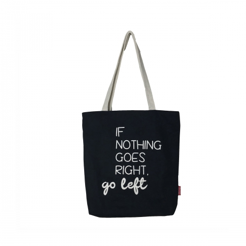 "BOLSA GRANDE ""IF NOTHING GOES RIGHT, GO LEFT"" PRETO"